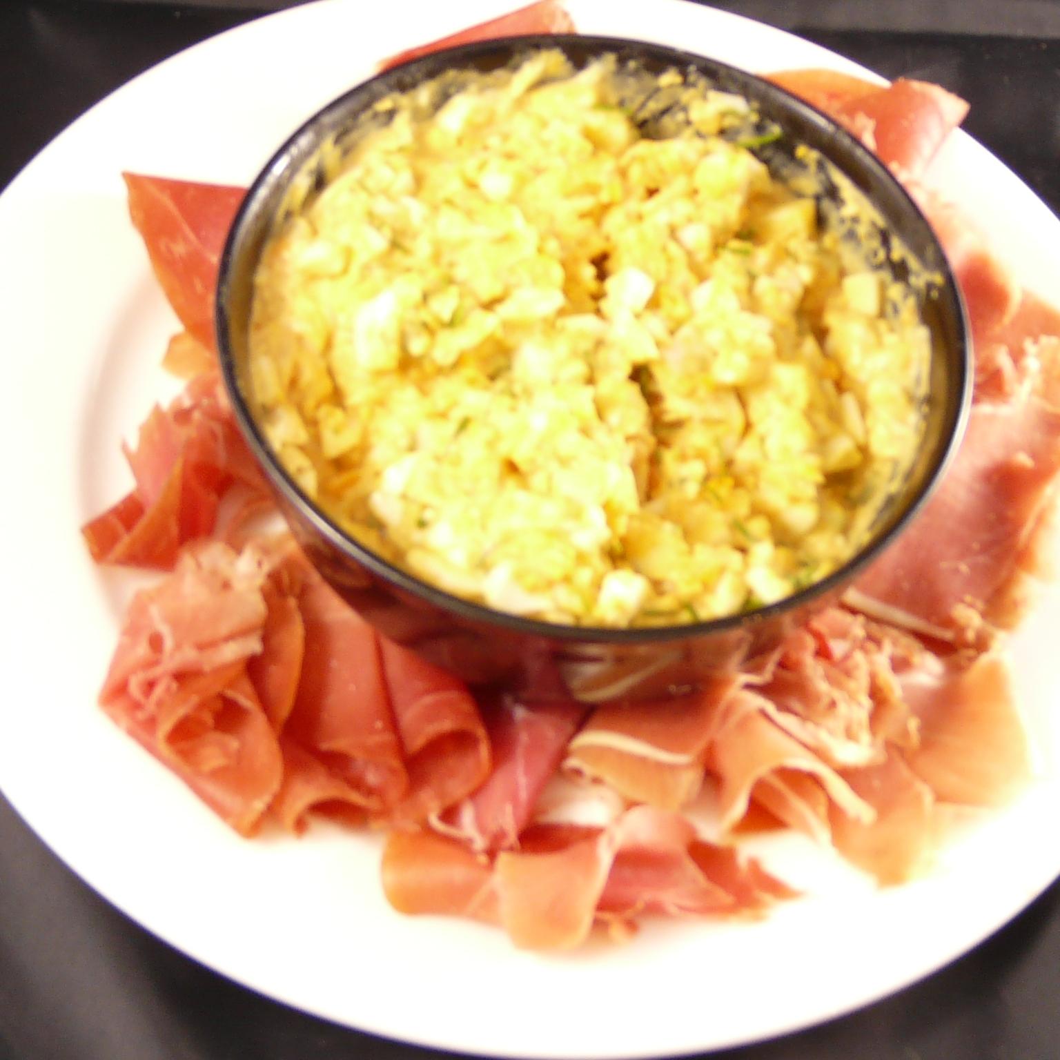 Eiersalade met rauwe ham