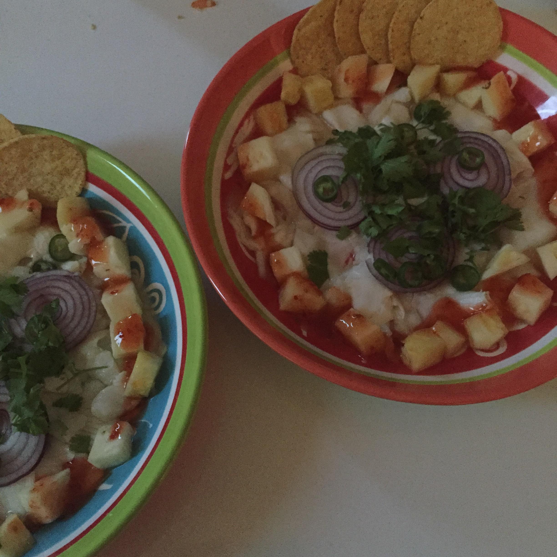 Ceviche van heilbot met ananas en chilisaus